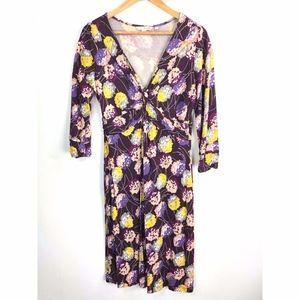Boden Surplice Dress 12 Purple Floral